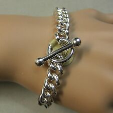 Second hand Sterling silver solid heavy T/Bar bracelet