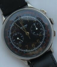 Record Chronograph big mens wristwatch nickel chromiun case 40,5 mm. in diameter