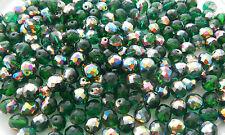 100 PCS WHOLESALE 10mm CZECH GLASS FIREPOLISHED BEADS - KELLY GREEN VITRAIL