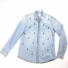 J Crew Collection Jeweled Denim Shirt  Womens 02967 Boy Shirt in Beaded Chambray