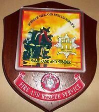 Suffolk Fire and Rescue Service wall plaque personalised free of charge.