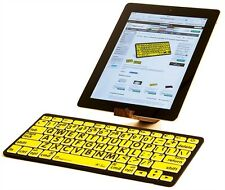 LogicKeyboard XL Print - Black on Yellow Bluetooth Mini Keyboard- LKB-LPBY-BTON