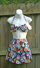 Nwt Vtg 80s Catalina Swim Bathing Suit Pin Up Floral High Waist Romper Shorts 10