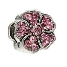 PINK CRYSTAL DAISY FLOWER CHARM BEAD FOR BRACELET OR NECKLACE