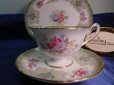 SHELLEY GEORGIAN CUP,  SAUCER  AND PLATE  #13360 GOLD TRIM - GAINSBOROUGH SHAPE