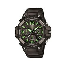 Casio MCW-100H-3A Analog Mens Watch Chronograph Black Green Heavy Duty Diver