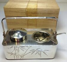 New Old Stock JAPANESE 970 Sterling Silver Salt Cellar & Pepper Shaker Set 97g