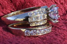 14K Yellow Gold Solitaire 3ct Engagement Wedding Ring 2 pc set SIZE 5 6 7 8 9 10
