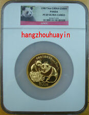 1987 China 5oz G500Y gold panda NGC PF69