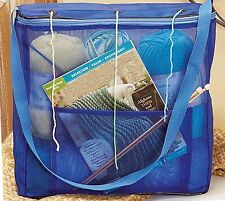 KNITTING yarn TOTE organizer NEEDLES bag PATTERNS book BLUE