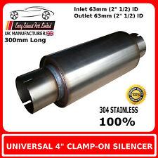 """4 """"X 8"""" Clamp In Acciaio Inox Silenziatore di scarico di corpo, 2 """" 1/2 (63mm) Bore"""