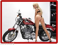 Sexy Pinup Motorcycle Girl Blond Refrigerator  / Tool Box Magnet Man Cave #2