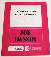 Partition vintage sheet music JOE DASSIN : Ce n'est Rien Que du Vent * 70's