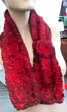 red genuine real rabbit fur knitted scarf neck warmer collar shawl stole