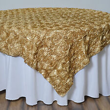 """72x72"""" Champagne SATIN Raised Roses TABLE OVERLAYS Unique Wedding Party Toppers"""