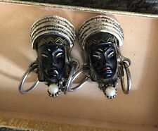Vintage Unique Hand Painted Carved African Tribal Warrior Queen Clip Earrings