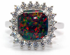 Sterling Silver Black Fire Opal And Diamond 4.68ct Ring (925)