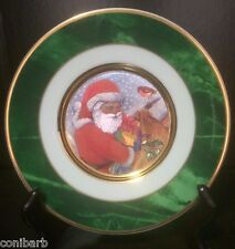 "Christmas Plate Santa Claus Dufex Art 24k Gold Trim 6"" Made in Japan Green Gifts"