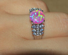 fire opal Cz ring gemstone silver jewelry 7.5 8.25 engagement wedding cocktail