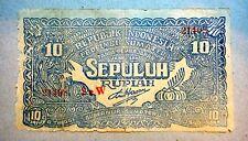 RARE INDONESIA 10 SEPULUH RUPIAH 1948 BANKNOTE - b187!!