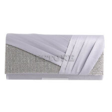 Ladies Satin Pleated Evening Hand Bag Party Wedding Prom Envelope Clutch Purse
