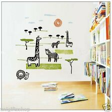 Safari Animals African Animals WALL DECAL Room Stickers Boys Girls Bedroom Decor