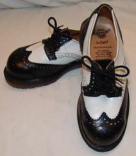 Dr Martens Black White Saddle Shoes UK 5 / US 7 7.5  Doc Wing Tip England Vtg