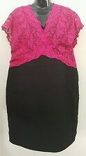 Ladies size 22 Black & Pink Lace & Body Con Dress BNWT - Alexon