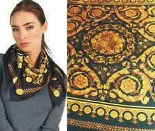 "VERSACE black BAROQUE Scroll BOUQUET center Silk Twill 35"" Large scarf NWT Auth"