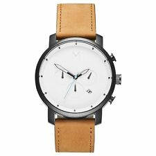 MVMT Men's Watch Chrono Black Case White Face With Brown Leather