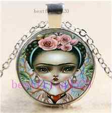 Skull Frida Kahlo Cabochon Glass Tibet Silver Chain Pendant Necklace