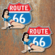 Route 66 Pin Up Stickers 80x72mm car van VW hotrod Retro Vintage Decal