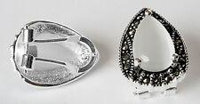15x19mm Opal Drop Marcasite & 925 Sterling Silver Leverback Stud Earrings