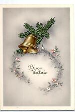 Buon Natale con Campana Xmas w Bell Cloche Glocke Vintage PC Circa 1950 11