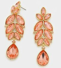 "2.75"" Long Champagne Peach Rose Crystal Gold Rhinestone Earrings Chandelier"