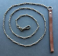 """VINTAGE TWISTED LINK DOG LEASH CHAIN MADE IN GERMANY 55.5"""" Leather handle"""