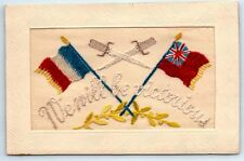 ANTIQUE Vintage WW1 BRITISH & FRENCH FLAG Embroidered Silk VICTORY Postcard