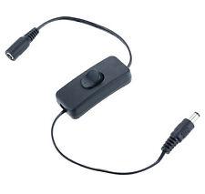 Negro en línea 12v Dc interruptor de encendido/apagado con 2.1 Mm Conectores Para Tiras De Led