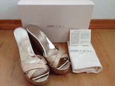 JIMMY CHOO Perfume Cork Wedge Nude Fine Glitter Sandal 39