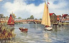 BR78001 the bridge wroxham ship bateaux postcard painting   uk 14x9cm