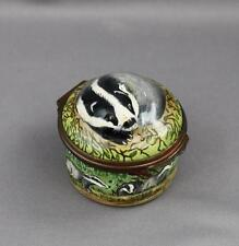 Rare Figural Badger  Enamel Trinket Box Halcyon Days England Animal Mustelid