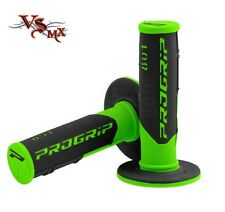 Pro Grip Progrip 801 Grips Flo Green Black Motocross Half Waffle Soft Density