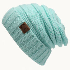 Mens Womens Beanie Knit Ski Cap Light Blue Winter Warm Slouchy Baggy Hat Unisex