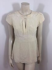 Nanette Lepore Cream/Black Cap Sleeve Polka Dot Woman Top Blouse Size 4