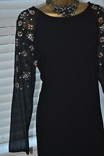 Stunning ⭐️ H&M ⭐️ Black Beaded Long Sleeve Tunic Dress Size 10 12 38