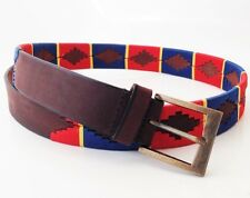 HAND MADE RED/BLUE LEATHER BELT EMBROIDERED POLO ARGENTINA STRONG MEDIUM / LARGE