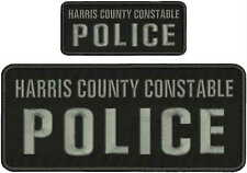 harris county constable police embroidery Patches 4x10 and 2x5hook on bgray lett