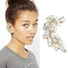 Diamante Rhinestone Crystal Ear Cuff Stud Earring Jewellery Gold Statement Clip