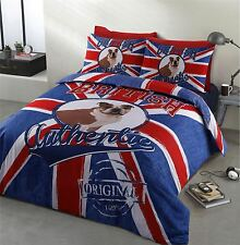 UNION JACK BULLDOG DENIM LOOK RED WHITE BLUE DOUBLE COTTON BLEND DUVET COVER