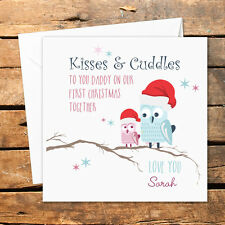 Bespoke Personalised Happy Merry First 1st Christmas Daddy Card Kisses Cuddles